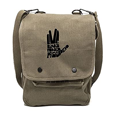Live Long And Prosper Hand With Text Canvas Crossbody Travel Map Bag Case  30%OFF be150500b71a8