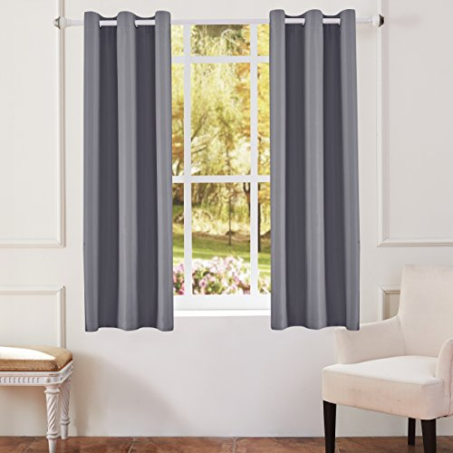 KEQIAOSUOCAI Flame Retardant/Resistant Blackout Room Darkening 250GSM Thermal Insulated Grommet Curtain for Bedroom Living Room 1 Panel(Gray,42Wx63L)
