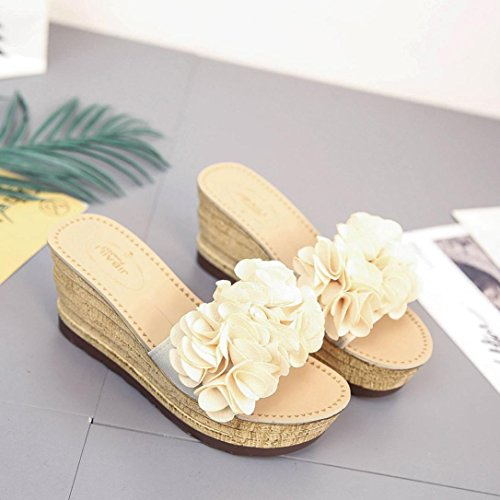 Shoes Flips Slipper Fashion Flops Wedges Beach Summer Women Sandals Inkach Floral Sandals Beige Platform x7W8cR