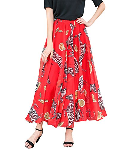 (Medeshe Women's Chiffon Floral Print Elasticated Waist Maxi Skirt (Red Zebra Print, Large))