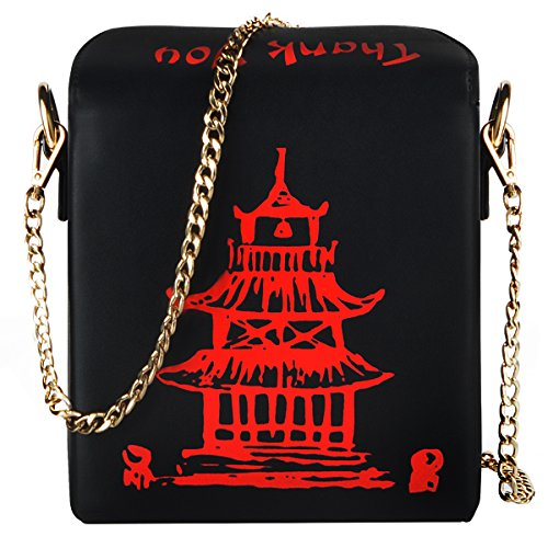 Fashion Crossbody Bag, Ustyle Chinese Takeout Box Style Clutch Bag Cellphone Container Tiny Satchel Funny and Unique Shoulder Bag Birthday Gift Card Case Fashionable Bag costume for teens (Black)]()