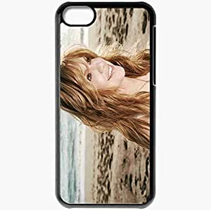 Personalized iPhone 5C Cell phone Case/Cover Skin Alison Krauss Girl Smile Sand Waves Black