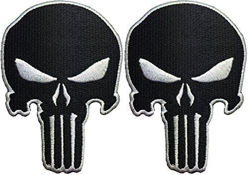 [Set 2 of Punisher Skull Sew on Iron on Embroidered Applique Patch - Black - By Ranger Return] (Rock And Roll Costumes Diy)