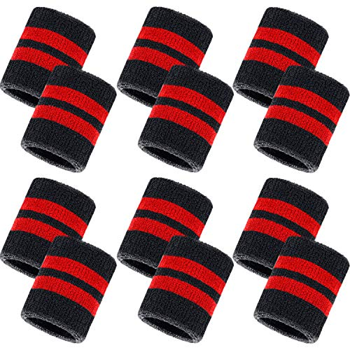Bememo 12 Pack Sweatbands Sports Wristband Cotton Sweat Band for Men and Women, Good for Tennis, Basketball, Running, Gym, Working Out (Black and Red)