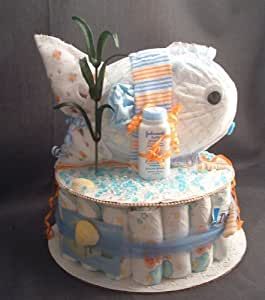 Amazon.com : Ocean FISH Baby Shower Gift Diaper Cake ...
