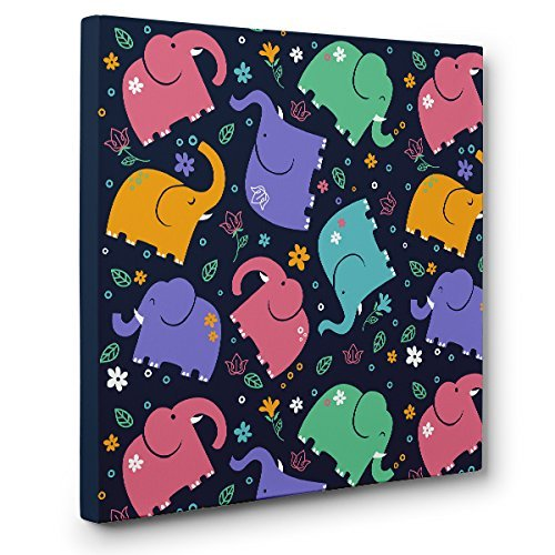 Elephant Pattern CANVAS Wall Art Home Décor by Paper Blast