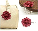 Tabletop Purse HANGER + Red Flower BAG CHARM|Real Leather Deep Red Rose Handbag Charm & Folding Table Purse Hook