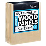 Artlicious 8x10 Super Value Wood Panel Boards for Artist Painting 5 Pack - 3/4'' Standard Profile