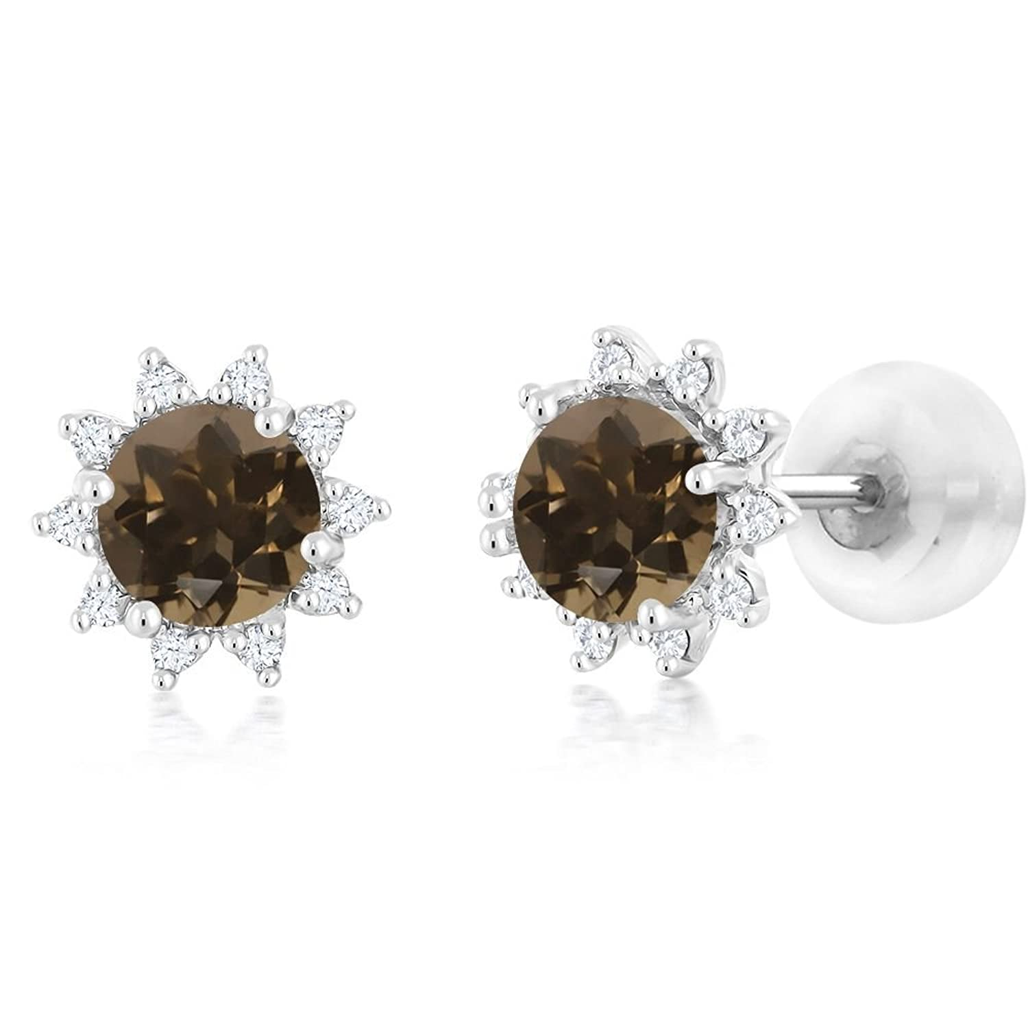 18K White Gold Diamond Stud Earrings Round 4mm Brown Smoky Quartz 0.52 Ct