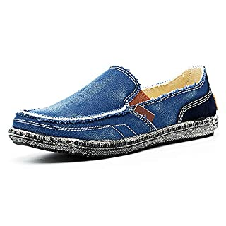 JAMONWU Mens Canvas Shoes Slip on Deck Shoes Boat Shoes Non Slip Casual Loafer Flat Outdoor Sneakers (11.5 US,Blue)