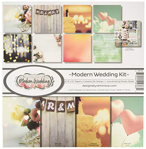 (Reminisce MOD-200 Modern Wedding Scrapbook Collection Kit, Multicolor)