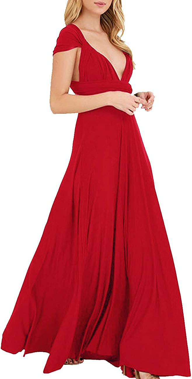 TALLA S. EMMA Mujeres Falda Larga de Cóctel Vestido de Noche Dama de Honor Elegante sin Respaldo Rojo S
