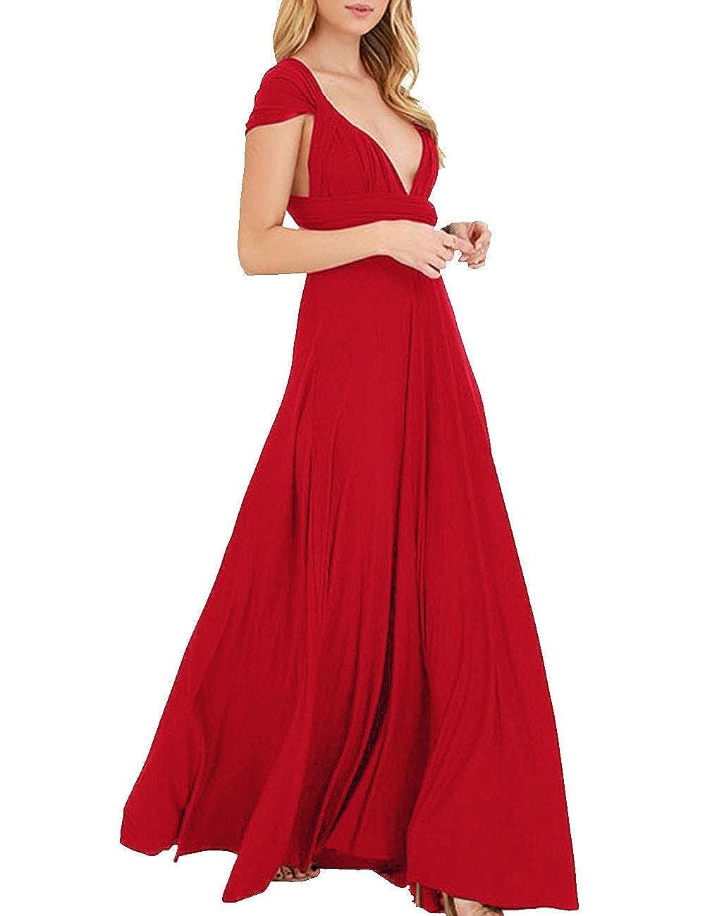TALLA M. EMMA Mujeres Falda Larga de Cóctel Vestido de Noche Dama de Honor Elegante sin Respaldo Rojo