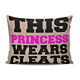 KEIBIKE Personalized This Princess Wears Soccer Softball Cleats Rectangle Decorative Pillowcases Coral Funny Zippered Standard Pillow Covers Cases 20x26 Inches One Sided