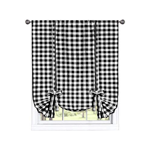 Bed Curtain Plaid (GoodGram Buffalo Check Plaid Gingham Custom Fit Window Curtain Treatments Assorted Colors, Styles & Sizes (Tie up Shade, Black))