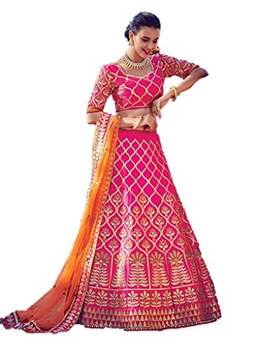 EthnicWear Silk Best Selling Designer Hot Pink Reception Bridal Wear Pakistani Lehenga (Pakistani Bridal Lehenga)