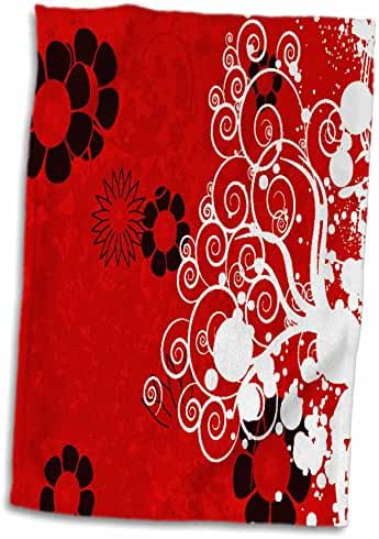 3dRose Anne Marie Baugh Patterns - Red, Black, White Flourishes and Flowers On A Grunge Background - 15x22 Hand Towel (twl_217878_1)