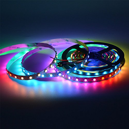 Mokungit WS2812B LED Strip Lights 3.2FT 1M 60 Pixels Programmable Individual Addressable LED Strip Light WS2812B WS2811 Built-in 5050 RGB LED Strip DC5V (White PCB Non-waterproof IP33)