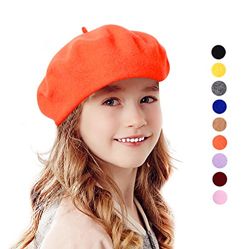 Bonaweite French Berets Hat For Girls Kids Ages 1-6, Children Toddler Classic Fashion Warm Beanie Cap For Party Winter Autumn Spring, Lightweight Casual Classic Solid Color Wool (Wool Fashion Beret)