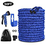 Pmty Expandable Garden Hose, 50FT Flexible Strongest Hose with Double Latex Core 3/4 Solid Brass Fittings Extra Strength Fabric-9 Functions Spray Nozzle for Home & Garden Washing Water Hose