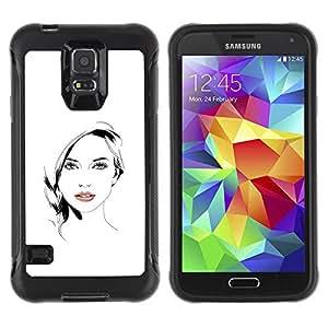 Be-Star único patrón Impacto Shock - Absorción y Anti-Arañazos Funda Carcasa Case Bumper Para SAMSUNG Galaxy S5 V / i9600 / SM-G900F / SM-G900M / SM-G900A / SM-G900T / SM-G900W8 ( Beautiful Woman Girl Lips White Black )