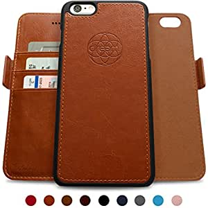 Dreem iPhone 6 PLUS/6s PLUS Wallet Case with Detachable SlimCase, Fibonacci Luxury Series, Vegan Leather, RFID Protection, 2-Way Stand, Gift Box - Caramel Brown