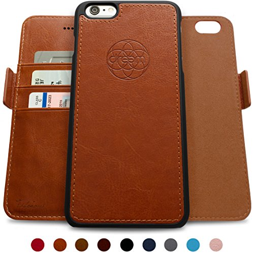 Dreem Fibonacci 2-in-1 Wallet-Case for iPhone 6 & 6s, Magnetic Detachable Unbreakable TPU Slim-Case, RFID Protection, 2-Way Stand, Luxury Vegan Leather, Gift-Box - Caramel