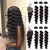 Ugrace Hair Loose Deep Wave with Closure Human Hair Bundles with Closure Brazilian Virgin Hair with Lace Closure with Baby Hair Soft and Bouncy Closure and Bundles (18 20 22+18 Inch Free Part)