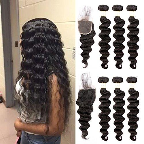 Ugrace Hair Human Hair Bundles with Closure Loose Wave with Crochet Closure 4x4 Inch Virgin Hair with Closure with Baby Hair Natural Color Soft and Bouncy 18 20 22+16 Inch Free Part by Ugrace Hair
