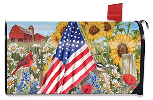 America the Beautiful Summer Mailbox Cover Floral Patriotic Standard