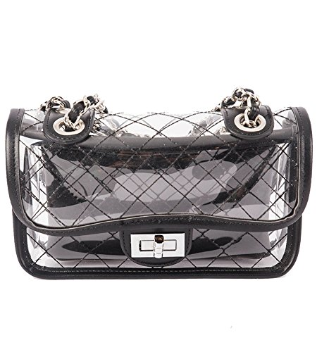 For Crossbody EUPHIE Transparent Women Bag Chain Plaid YING Clear Shoulder Handbag Black wwBRq