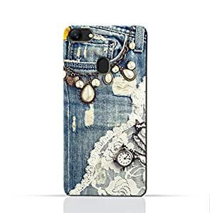 AMC Design Oppo A73 Mobile Protective Case with Modern Jeans Pattern - Blue