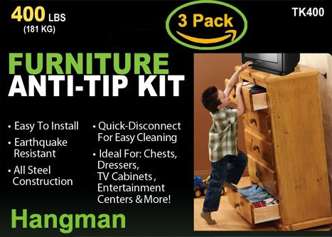 Hangman Anti-Tip Kit to Prevent Furniture Falling-Steel (TK-400-3)