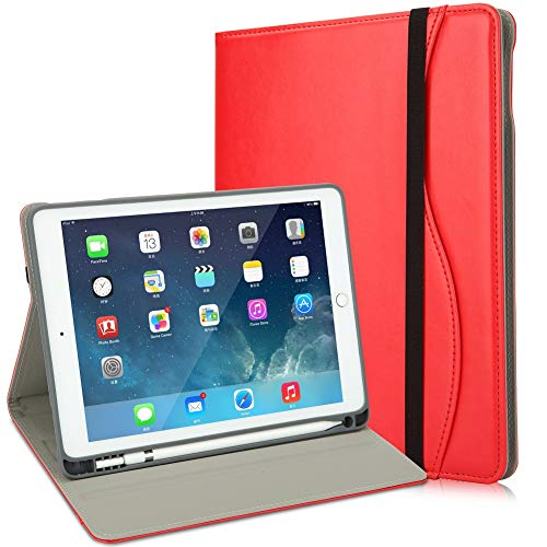 HFcoupe 10.5 iPad Case with Pencil Holder for iPad Air 3rd Gen 2019 iPad Pro 10.5 inch 2017, Leather Stand Folio with TPU Back Cover - Wallet Pocket - Handle Strap - Auto Sleep/Wake Red ...