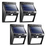 Habor Solar Lights Outdoor, 20 Bright LED Solar Motion Sensor Lights, Wireless Security Waterproof Easy Installed Wall Lights for Porch, Front Door, Patio, Deck, Pathway, Driveway, Garage(4 Pack)