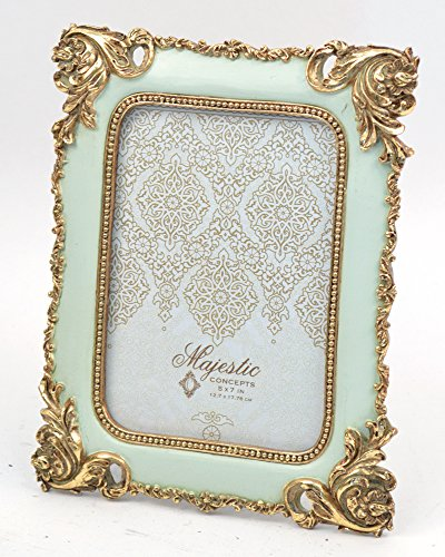 Concepts 5x7 Mint Gold Picture Frame With Corner Fleur Design Resin Photo Frame Classy ()