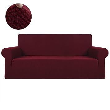 Iraza Funda Elástica para Sofá Ajustable,Apta para Muchos sofás Normales de 1 Plaza,2 Plazas,3 Plazas Desde 90 a 230 cm (Rojo, 2 Asientos)