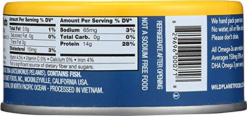 Wild Planet Skipjack Wild Tuna, No Salt Added, Keto and Paleo, 3rd Party Mercury Tested, 5 Ounce (Pack of 12) 8