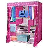 NEX Wardrobe Collapsible with Wooden Rack Armoire Removable Commode for Home Use Storage Closet(Pink+footprint)
