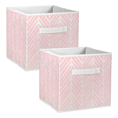 DII Foladble Fabric Storage Bins for Nursery, Offices, Home, Containers are Made to Fit Standard Cube Organizers, Small-11 x 11 x 11, Herringbone Mauve from DII