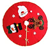 Micirc 40'' Christmas Tree Skirt Christmas Decorations Apron with Santa, Snowman, Snowflake Reindeer, Red Christmas tree mat with gold edges