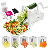 WonderVeg Spiralizer Vegetable Slicer – Tri Blade Spiral Slicer – Zucchini Spaghetti Pasta Noodle Maker – Cleaning Brush, Mini Recipe Book, 6 Spare Parts Included