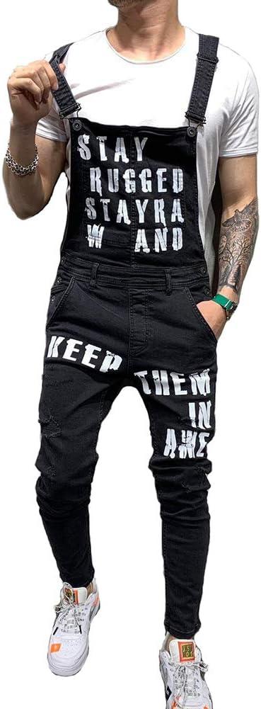 男性のためのレタープリントビブオーバーオールはジャンプスーツカジュアルロングパンツジーンズをリッピング,黒,L