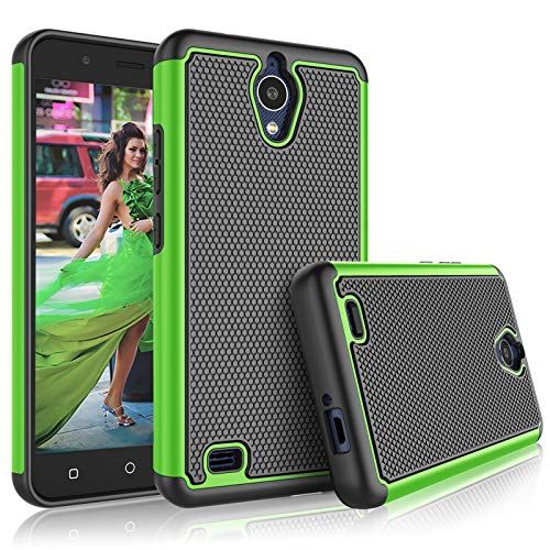 AT&T AXIA Case, AT&T AXIA QS5509A / Cricket Vision DQON5001 Cute Case, Tekcoo [Tmajor] Shock Absorbing Rubber Silicone & Plastic Scratch Resistant Bumper Grip Sturdy Hard Phone Cases Cover [Green] ()