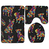 Huadduo French Bulldogs Puppies Dogs Canine Animals Pets Bath Mat Set,3 Piece Bathroom Mats Set Non-Slip Bathroom Rugs/Contour Mat/Toilet Cover