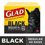 Glad Black Garbage Bags - Regular 74 Litres - 40 Trash Bags