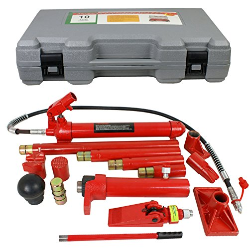 (F2C 10 Ton Capacity Porta Power Hydraulic Bottle Jack ram Pump Auto Body Frame Repair Tool Kit Power Set Auto Tool for Automotive, Truck, Farm and Heavy Equipment/Construction)