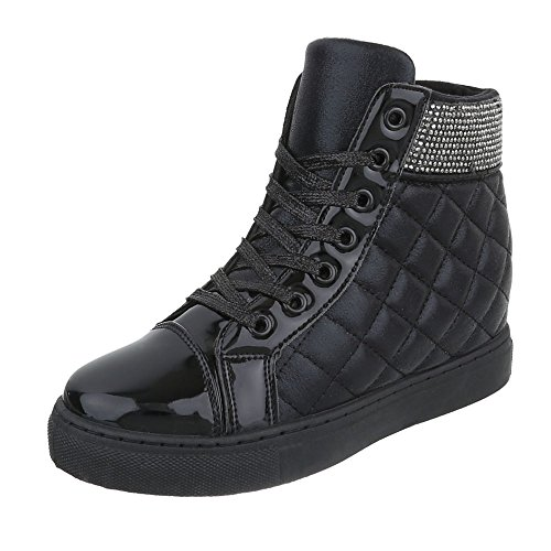 Ital-Design High-Top Sneaker Damenschuhe High-Top Keilabsatz/Wedge Keilabsatz Schnürsenkel Freizeitschuhe Schwarz