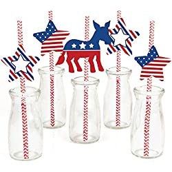 Election (D) Paper Straw Decor - Political Party Striped Decorative Straws - Set of 24