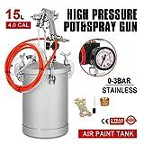 VEVOR Paint Tank 15L / 4 Gallon Pressure Spray Gun with 4.0mm Nozzle Regulator Pressure Pot Paint Sprayer Industrial Painting Painter (15L 4.0mm)